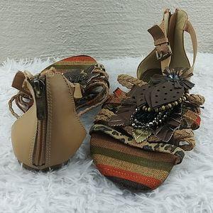 Two Lips Tan Multicolored Zipper Back Flat Sandals